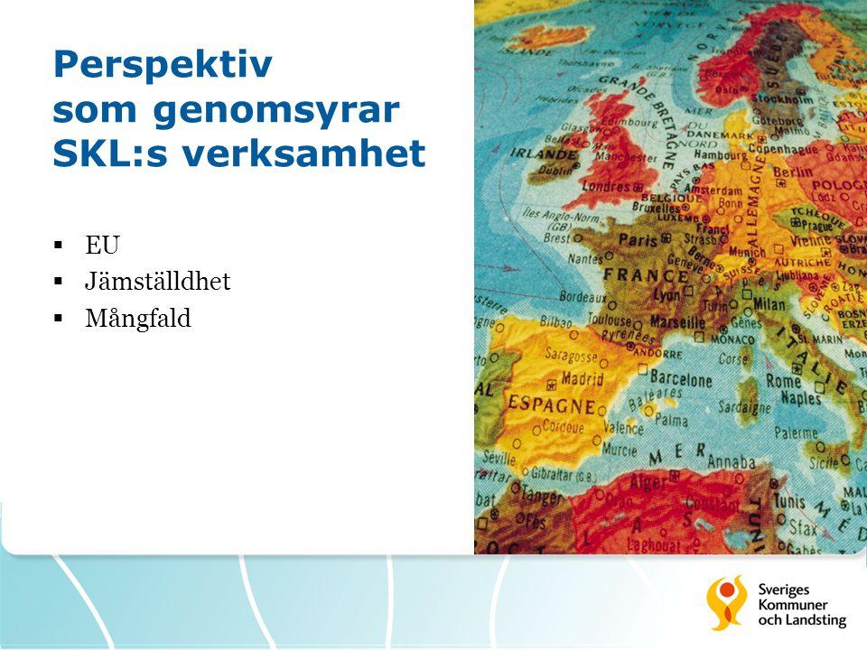 Perspektiv som genomsyrar SKL:s verksamhet  EU  Jämställdhet  Mångfald