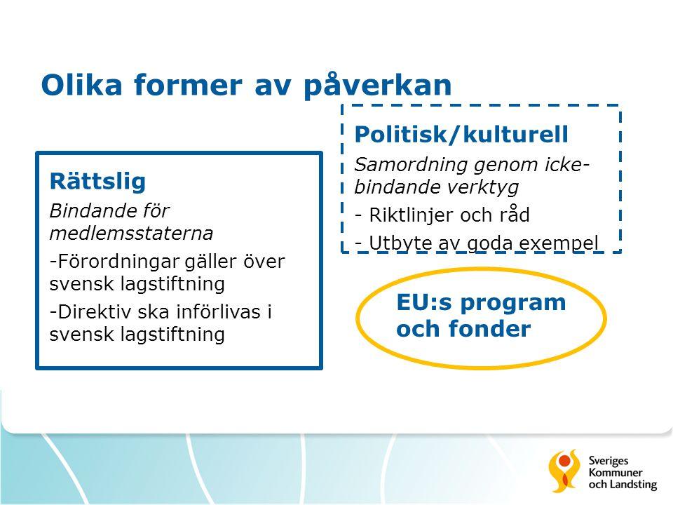 Olika former av påverkan Rättslig Bindande för medlemsstaterna -Förordningar gäller över svensk lagstiftning -Direktiv ska införlivas i svensk lagstif