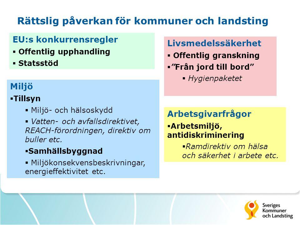 Rättslig påverkan för kommuner och landsting EU:s konkurrensregler  Offentlig upphandling  Statsstöd Miljö  Tillsyn  Miljö- och hälsoskydd  Vatte