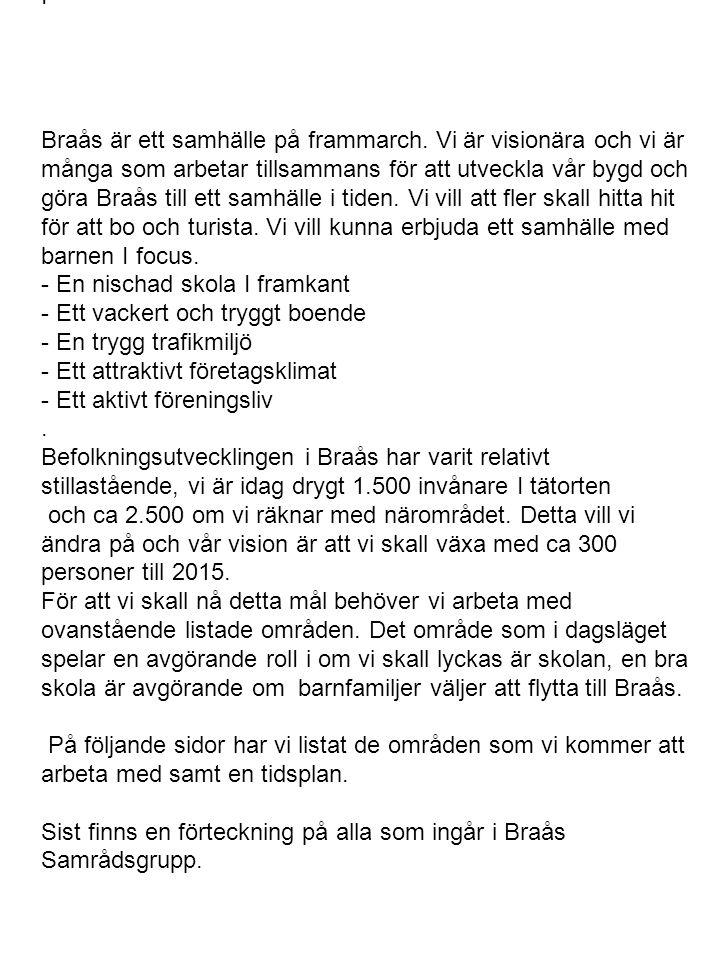I Braås är ett samhälle på frammarch. Vi är visionära och vi är många som arbetar tillsammans för att utveckla vår bygd och göra Braås till ett samhäl
