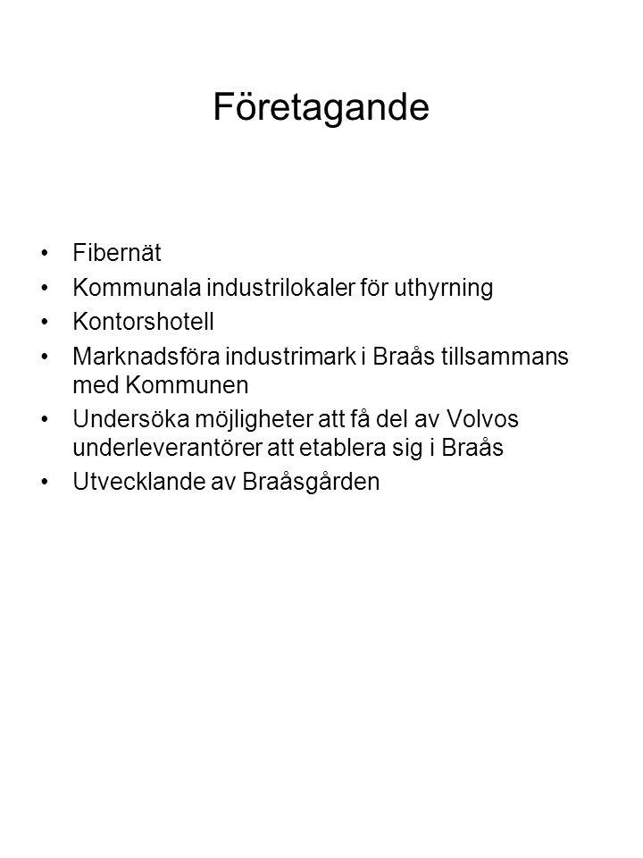 Företagande •Fibernät •Kommunala industrilokaler för uthyrning •Kontorshotell •Marknadsföra industrimark i Braås tillsammans med Kommunen •Undersöka möjligheter att få del av Volvos underleverantörer att etablera sig i Braås •Utvecklande av Braåsgården