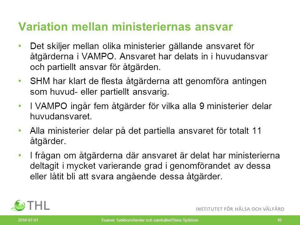 Variation mellan ministeriernas ansvar •Det skiljer mellan olika ministerier gällande ansvaret för åtgärderna i VAMPO. Ansvaret har delats in i huvuda