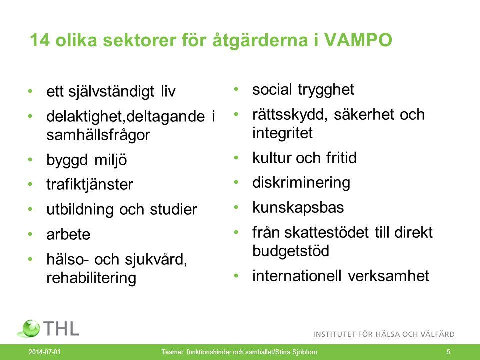 14 olika sektorer för åtgärderna i VAMPO •ett självständigt liv •delaktighet,deltagande i samhällsfrågor •byggd miljö •trafiktjänster •utbildning och