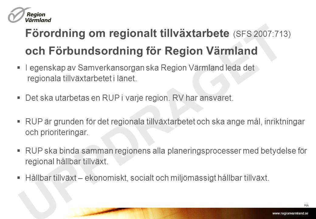www.regionvarmland.se UPPDRAGET Förordning om regionalt tillväxtarbete (SFS 2007:713) och Förbundsordning för Region Värmland  I egenskap av Samverkansorgan ska Region Värmland leda det regionala tillväxtarbetet i länet.