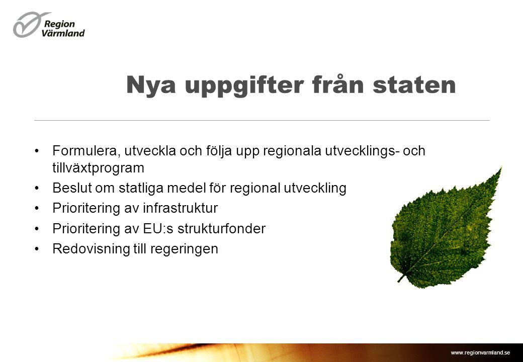 www.regionvarmland.se Nya uppgifter från staten •Formulera, utveckla och följa upp regionala utvecklings- och tillväxtprogram •Beslut om statliga mede