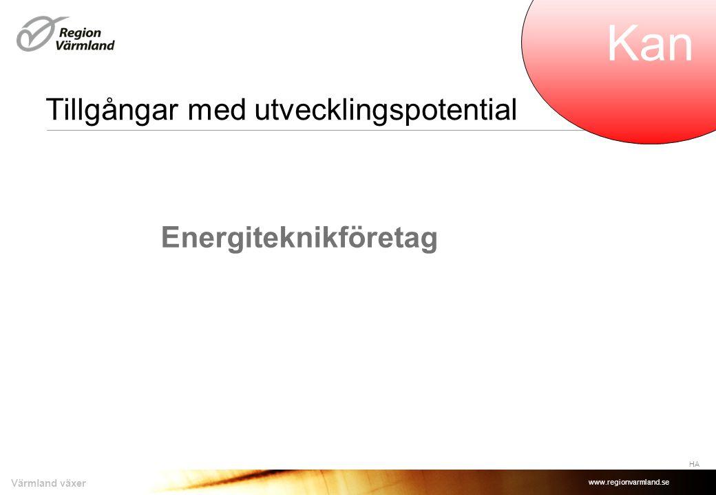 www.regionvarmland.se Värmland växer Tillgångar med utvecklingspotential Energiteknikföretag HA Kan