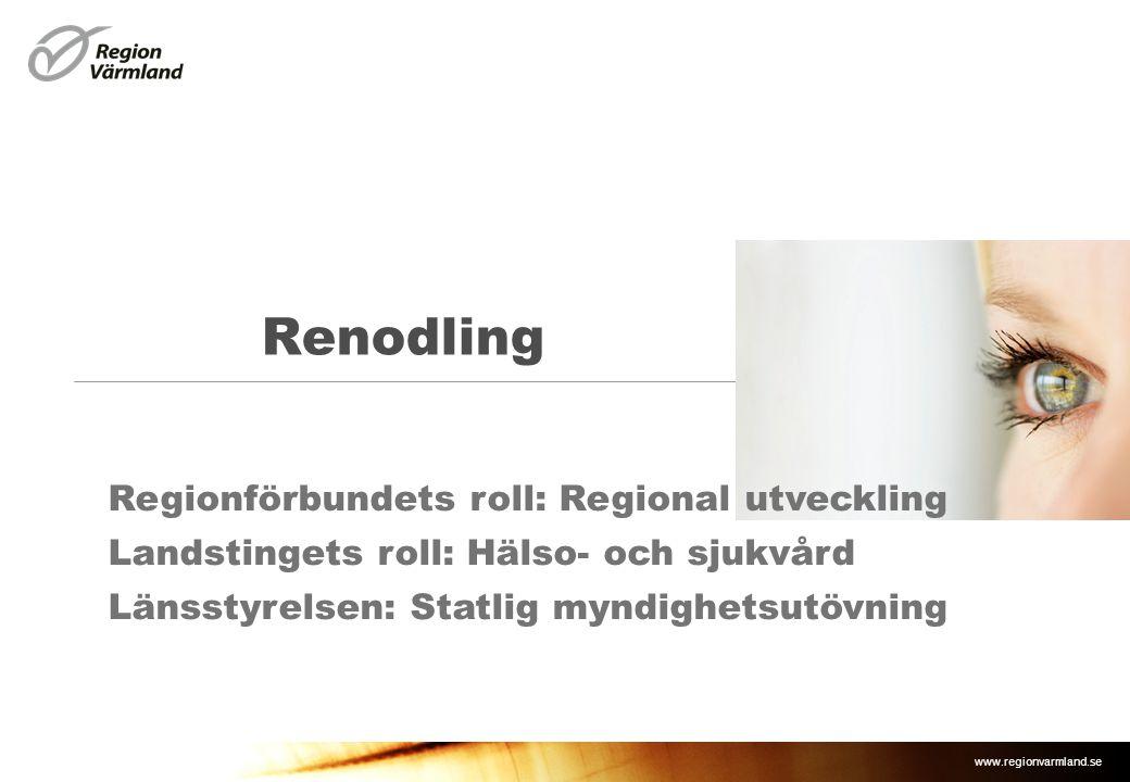 www.regionvarmland.se Renodling Regionförbundets roll: Regional utveckling Landstingets roll: Hälso- och sjukvård Länsstyrelsen: Statlig myndighetsutö