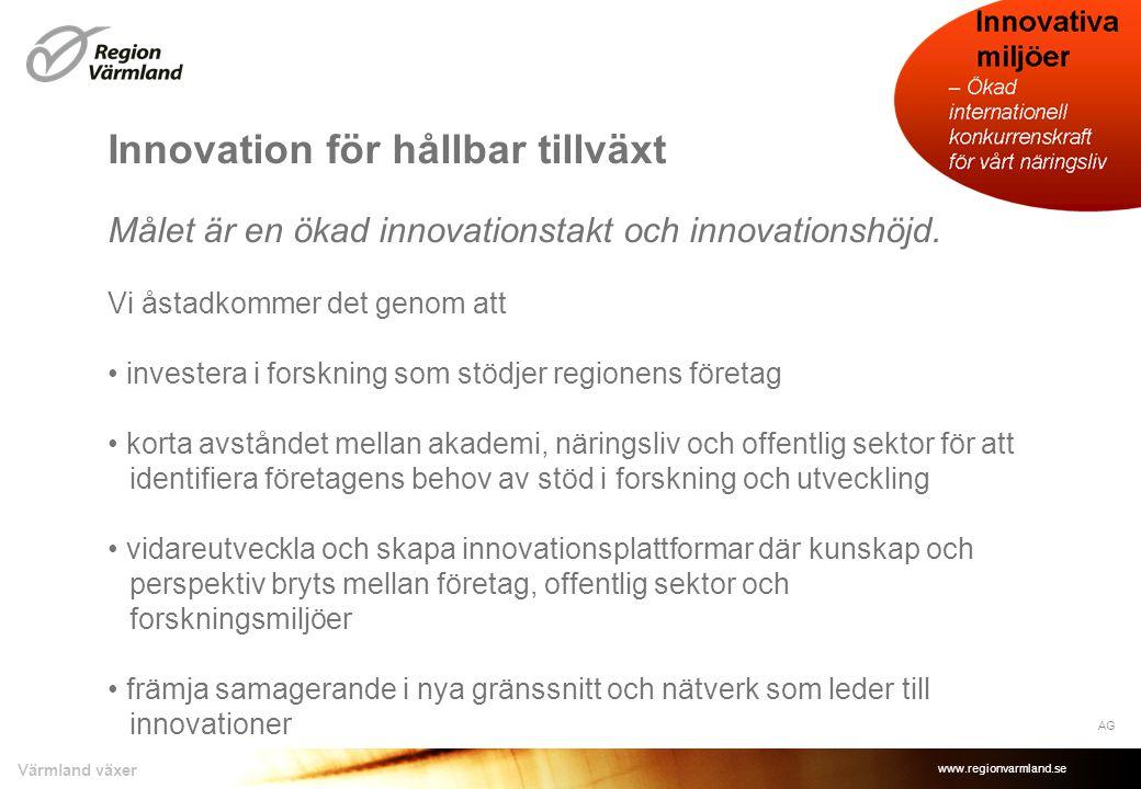 www.regionvarmland.se Värmland växer Innovation för hållbar tillväxt Målet är en ökad innovationstakt och innovationshöjd. Vi åstadkommer det genom at