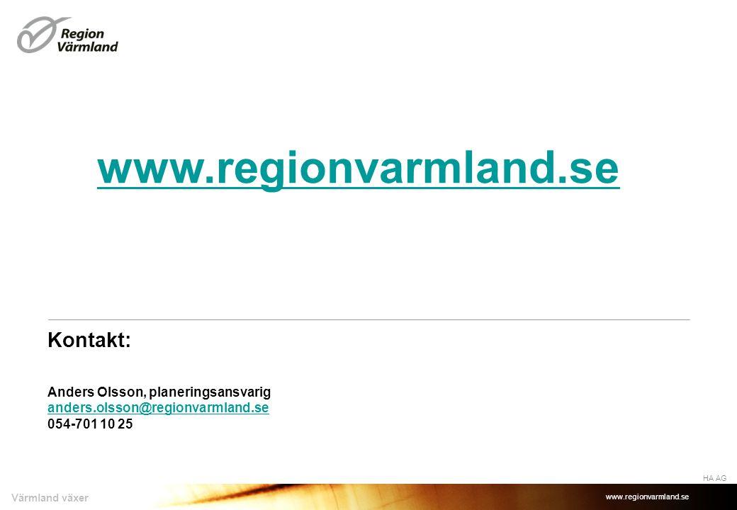 www.regionvarmland.se Värmland växer Kontakt: Anders Olsson, planeringsansvarig anders.olsson@regionvarmland.se 054-701 10 25 anders.olsson@regionvarmland.se HA AG www.regionvarmland.se