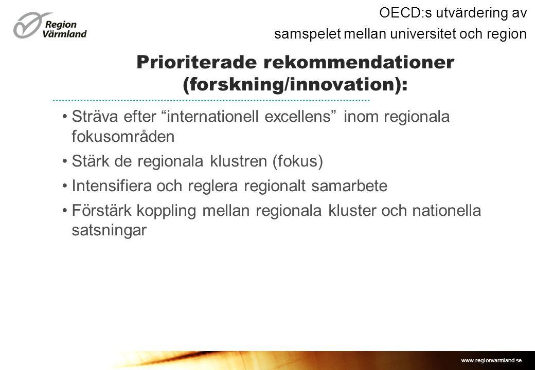 www.regionvarmland.se OECD:s utvärdering av samspelet mellan universitet och region •Sträva efter internationell excellens inom regionala fokusområden •Stärk de regionala klustren (fokus) •Intensifiera och reglera regionalt samarbete •Förstärk koppling mellan regionala kluster och nationella satsningar Prioriterade rekommendationer (forskning/innovation):