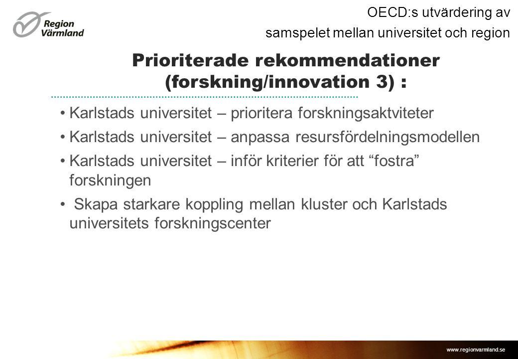 www.regionvarmland.se OECD:s utvärdering av samspelet mellan universitet och region •Karlstads universitet – prioritera forskningsaktviteter •Karlstads universitet – anpassa resursfördelningsmodellen •Karlstads universitet – inför kriterier för att fostra forskningen • Skapa starkare koppling mellan kluster och Karlstads universitets forskningscenter Prioriterade rekommendationer (forskning/innovation 3) :