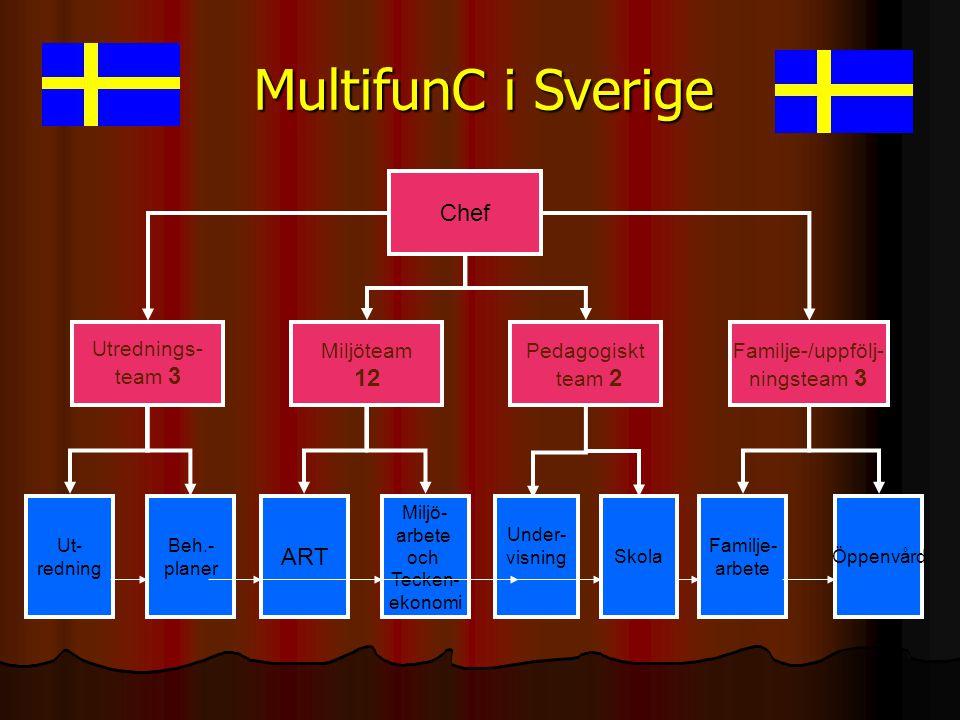 MultifunC i Sverige Utrednings- team 3 Miljöteam 12 Pedagogiskt team 2 Familje-/uppfölj- ningsteam 3 Chef Ut- redning Beh.- planer Miljö- arbete och T
