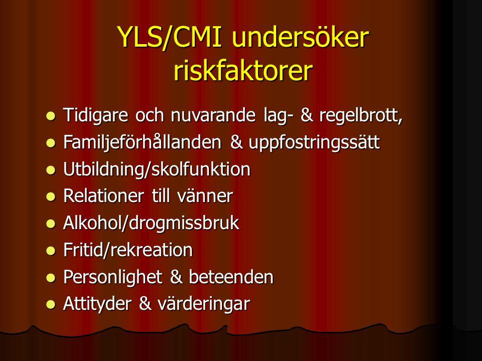YLS/CMI undersöker riskfaktorer  Tidigare och nuvarande lag- & regelbrott,  Familjeförhållanden & uppfostringssätt  Utbildning/skolfunktion  Relat