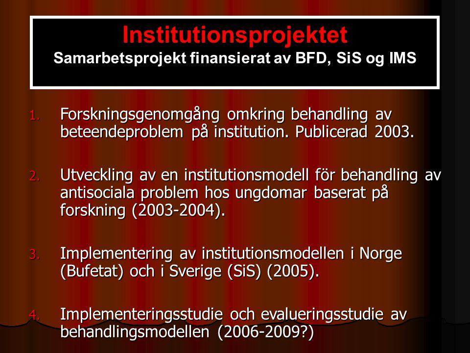 1. Forskningsgenomgång omkring behandling av beteendeproblem på institution. Publicerad 2003. 2. Utveckling av en institutionsmodell för behandling av