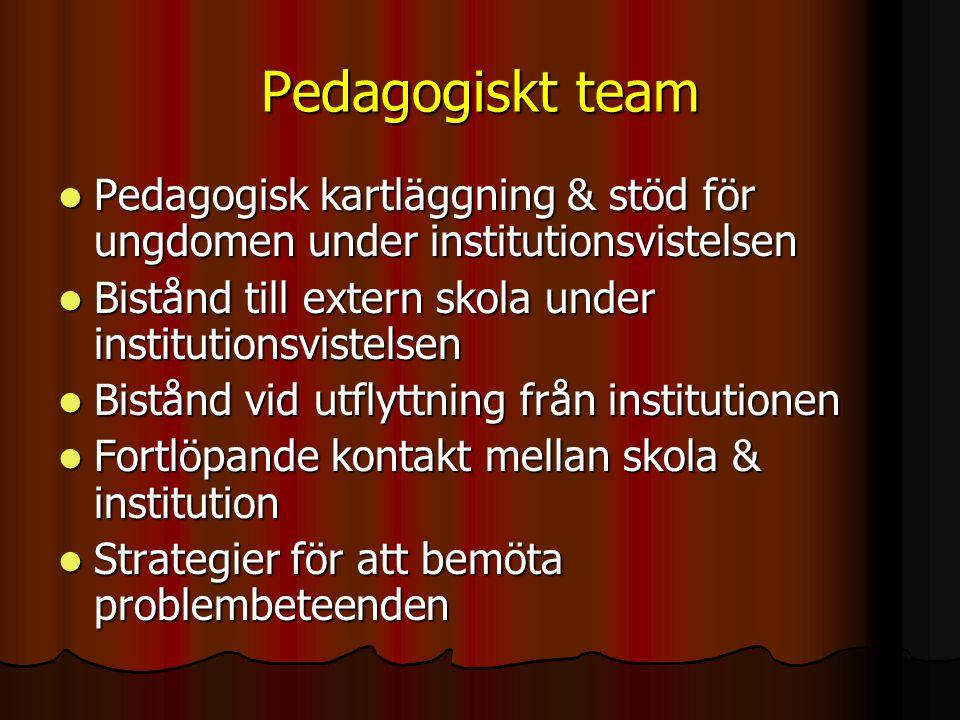 Pedagogiskt team  Pedagogisk kartläggning & stöd för ungdomen under institutionsvistelsen  Bistånd till extern skola under institutionsvistelsen  B