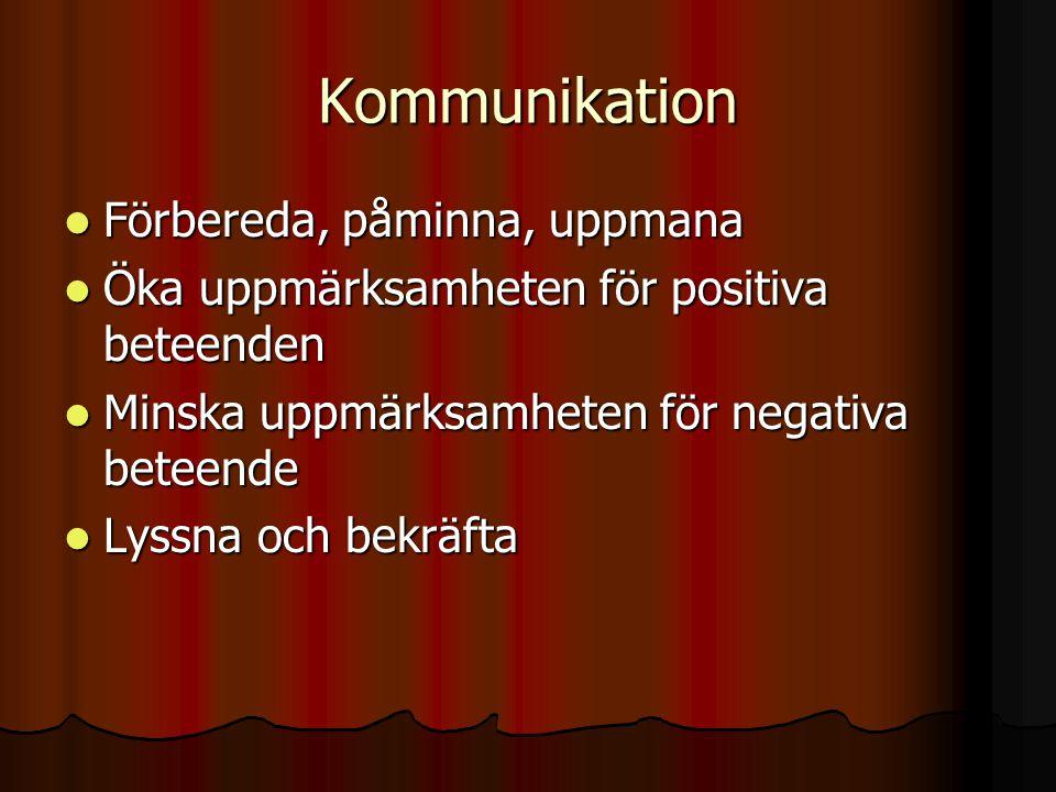 Kommunikation  Förbereda, påminna, uppmana  Öka uppmärksamheten för positiva beteenden  Minska uppmärksamheten för negativa beteende  Lyssna och bekräfta