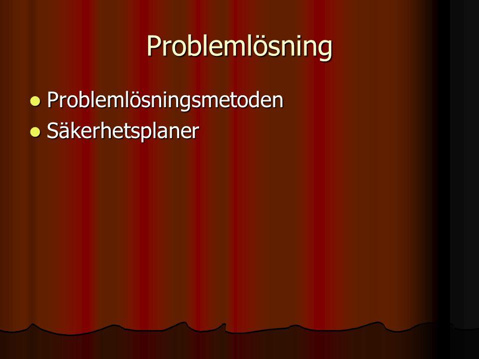 Problemlösning  Problemlösningsmetoden  Säkerhetsplaner