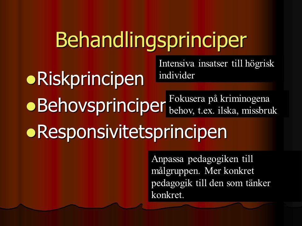 Behandlingsprinciper  Riskprincipen  Behovsprincipen  Responsivitetsprincipen Intensiva insatser till högrisk individer Fokusera på kriminogena beh