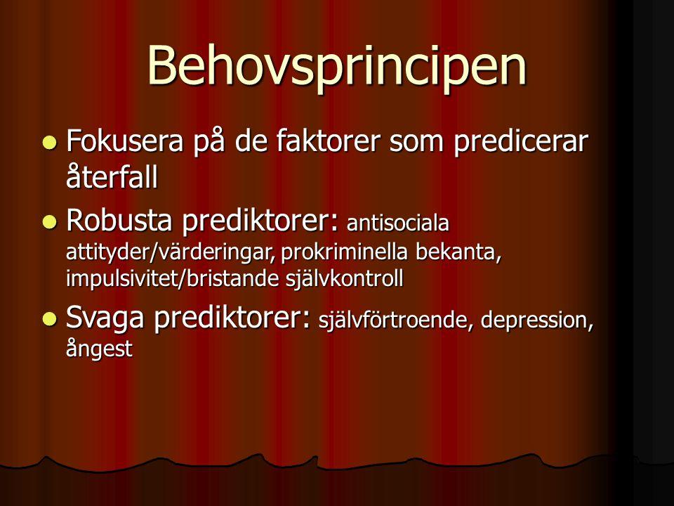 Behovsprincipen  Fokusera på de faktorer som predicerar återfall  Robusta prediktorer: antisociala attityder/värderingar, prokriminella bekanta, impulsivitet/bristande självkontroll  Svaga prediktorer: självförtroende, depression, ångest
