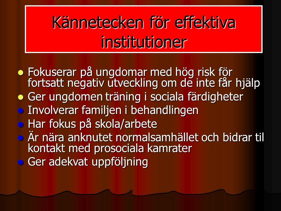  Fokuserar på ungdomar med hög risk för fortsatt negativ utveckling om de inte får hjälp  Ger ungdomen träning i sociala färdigheter  Involverar fa