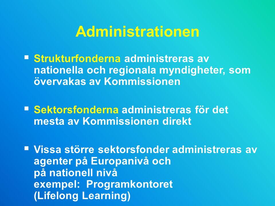 Administrationen  Strukturfonderna administreras av nationella och regionala myndigheter, som övervakas av Kommissionen  Sektorsfonderna administreras för det mesta av Kommissionen direkt  Vissa större sektorsfonder administreras av agenter på Europanivå och på nationell nivå exempel: Programkontoret (Lifelong Learning)