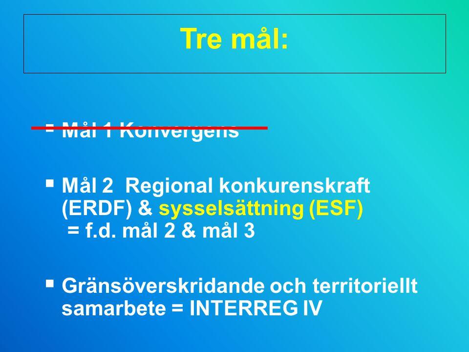 Tre mål:  Mål 1 Konvergens  Mål 2 Regional konkurenskraft (ERDF) & sysselsättning (ESF) = f.d.