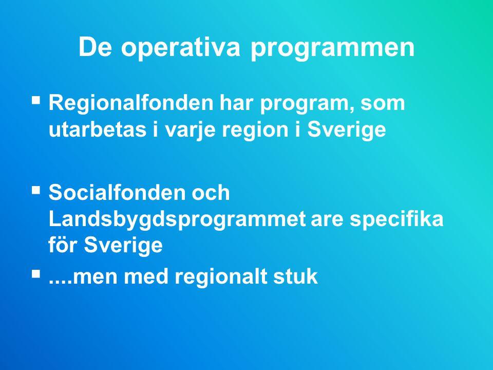 De operativa programmen  Regionalfonden har program, som utarbetas i varje region i Sverige  Socialfonden och Landsbygdsprogrammet are specifika för Sverige ....men med regionalt stuk
