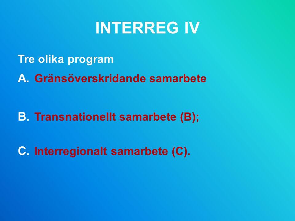 INTERREG IV Tre olika program A.Gränsöverskridande samarbete B.