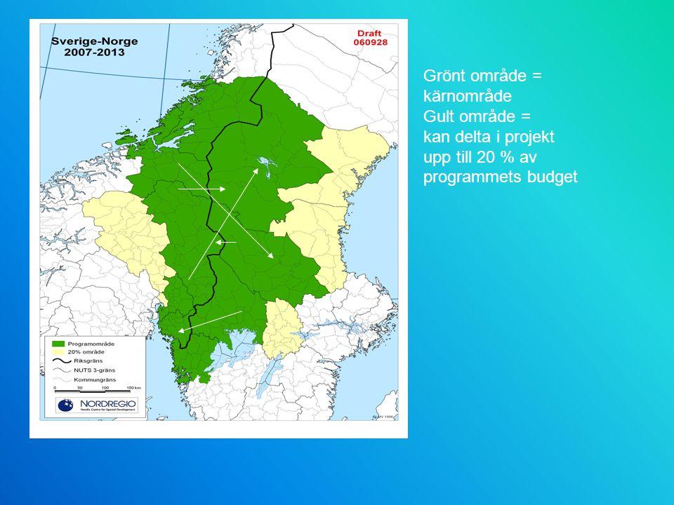 Grönt område = kärnområde Gult område = kan delta i projekt upp till 20 % av programmets budget