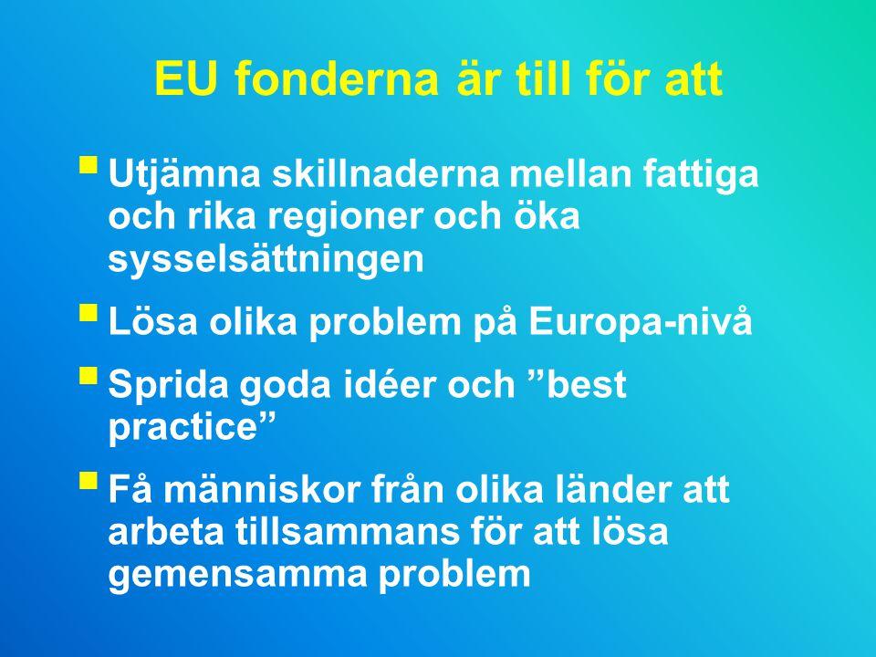 EU fonderna är till för att  Utjämna skillnaderna mellan fattiga och rika regioner och öka sysselsättningen  Lösa olika problem på Europa-nivå  Sprida goda idéer och best practice  Få människor från olika länder att arbeta tillsammans för att lösa gemensamma problem