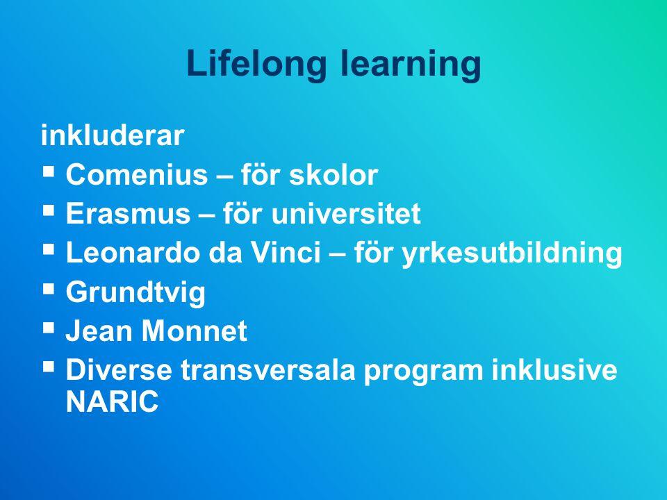 Lifelong learning inkluderar  Comenius – för skolor  Erasmus – för universitet  Leonardo da Vinci – för yrkesutbildning  Grundtvig  Jean Monnet  Diverse transversala program inklusive NARIC