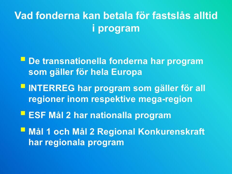 Vad fonderna kan betala för fastslås alltid i program  De transnationella fonderna har program som gäller för hela Europa  INTERREG har program som gäller för all regioner inom respektive mega-region  ESF Mål 2 har nationalla program  Mål 1 och Mål 2 Regional Konkurenskraft har regionala program