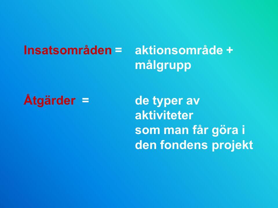 Insatsområden =aktionsområde + målgrupp Åtgärder =de typer av aktiviteter som man får göra i den fondens projekt