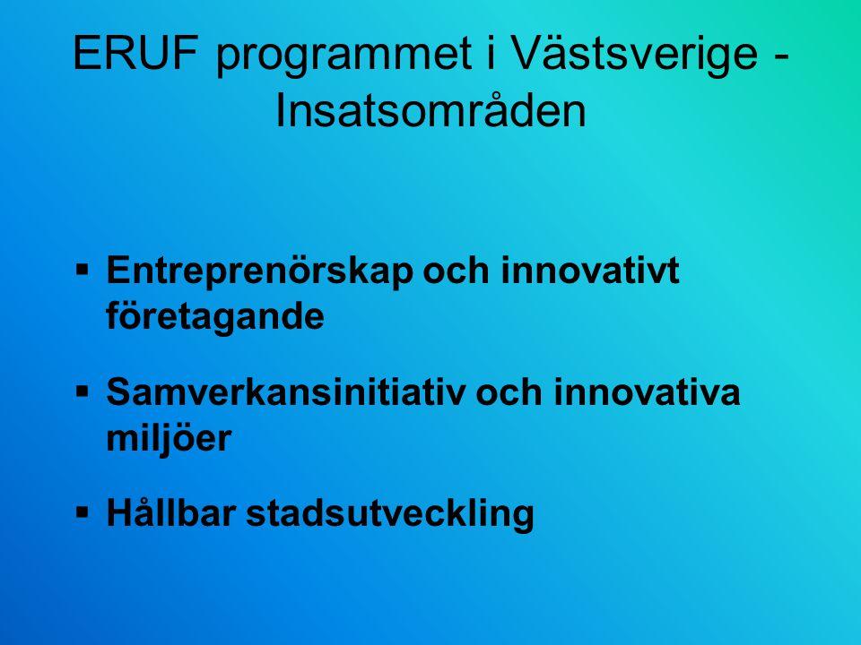 ERUF programmet i Västsverige - Insatsområden  Entreprenörskap och innovativt företagande  Samverkansinitiativ och innovativa miljöer  Hållbar stadsutveckling