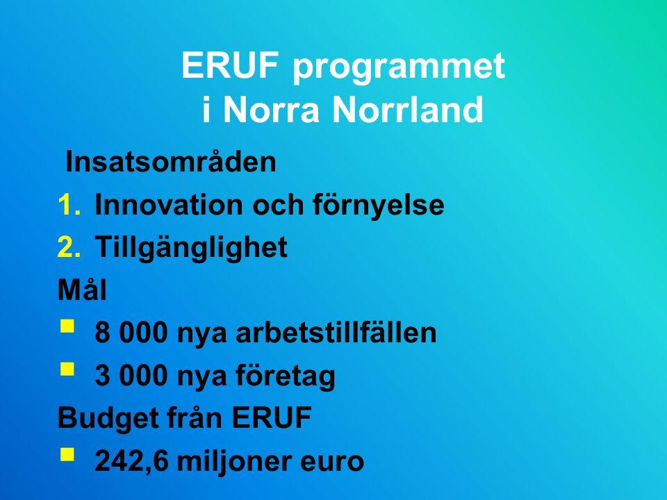 ERUF programmet i Norra Norrland Insatsområden 1.Innovation och förnyelse 2.Tillgänglighet Mål  8 000 nya arbetstillfällen  3 000 nya företag Budget från ERUF  242,6 miljoner euro