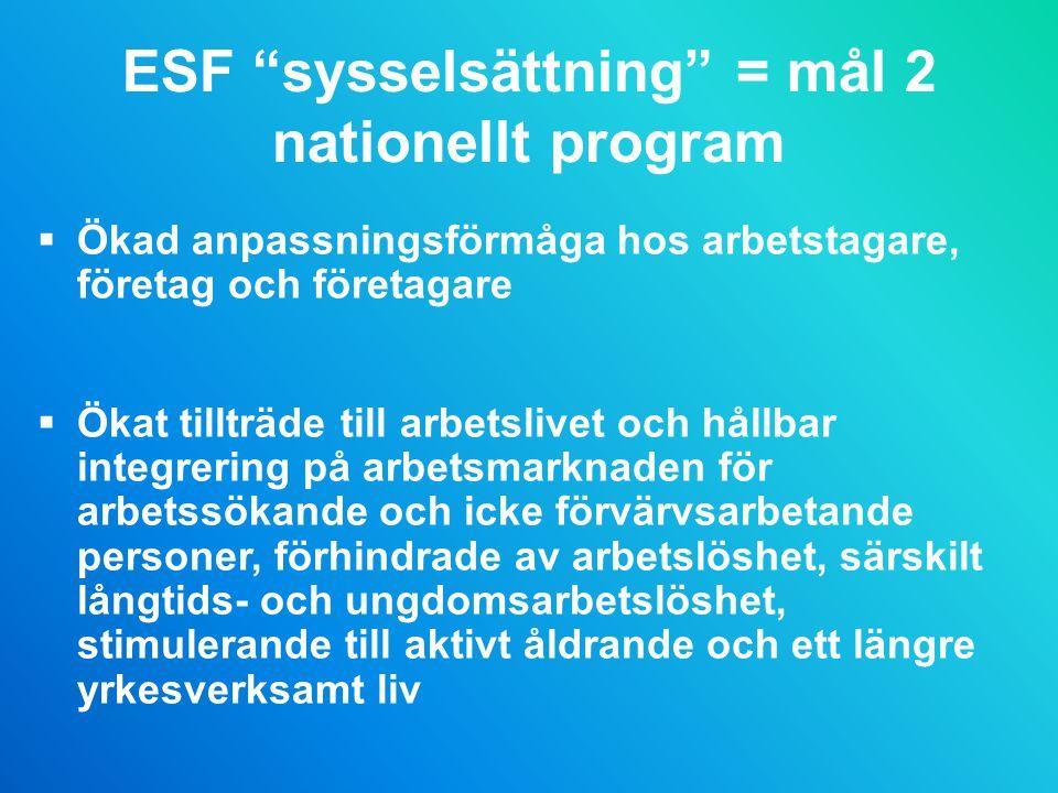 ESF sysselsättning = mål 2 nationellt program  Ökad anpassningsförmåga hos arbetstagare, företag och företagare  Ökat tillträde till arbetslivet och hållbar integrering på arbetsmarknaden för arbetssökande och icke förvärvsarbetande personer, förhindrade av arbetslöshet, särskilt långtids- och ungdomsarbetslöshet, stimulerande till aktivt åldrande och ett längre yrkesverksamt liv