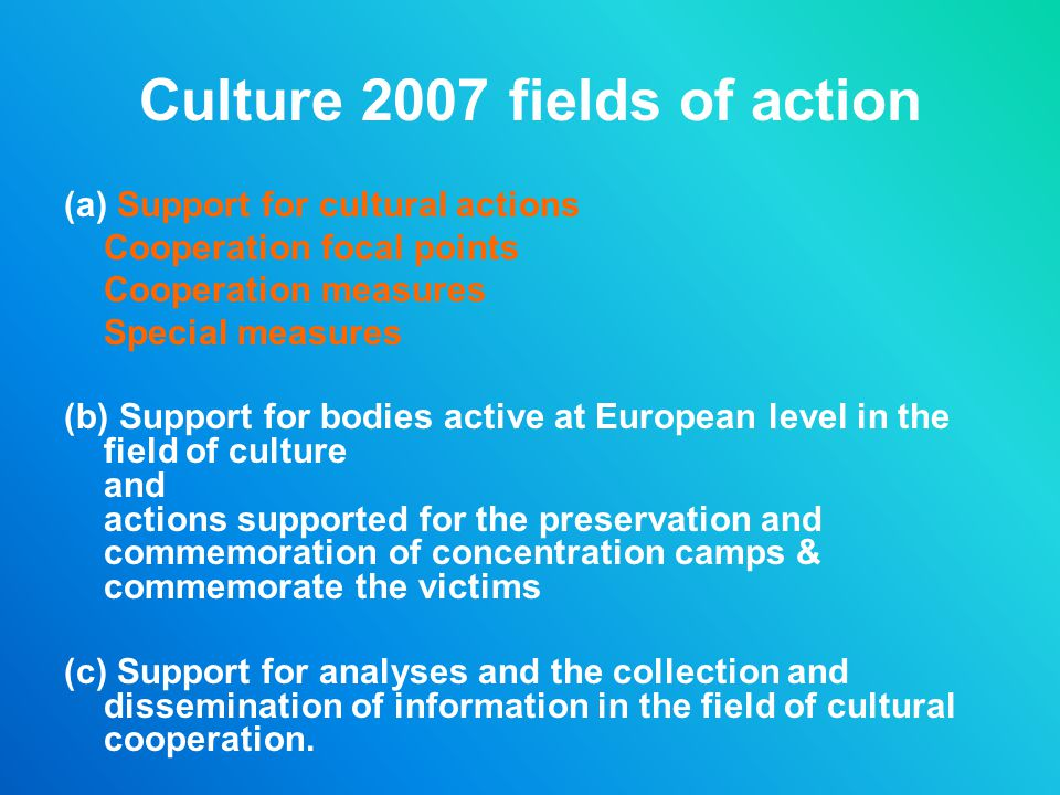 Culture 2007 fields of action (a) Support for cultural actions Cooperation focal points Cooperation measures Special measures (b) Support for bodies a