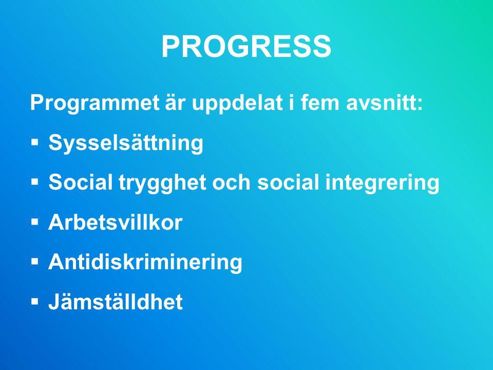 PROGRESS Programmet är uppdelat i fem avsnitt:  Sysselsättning  Social trygghet och social integrering  Arbetsvillkor  Antidiskriminering  Jämställdhet