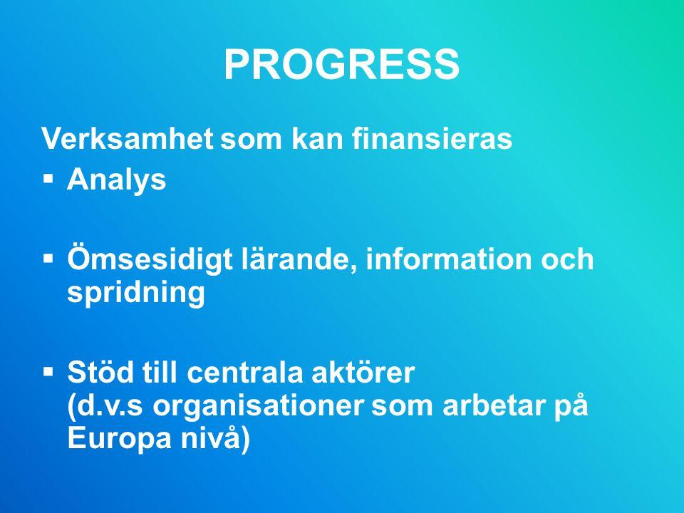 PROGRESS Verksamhet som kan finansieras  Analys  Ömsesidigt lärande, information och spridning  Stöd till centrala aktörer (d.v.s organisationer som arbetar på Europa nivå)