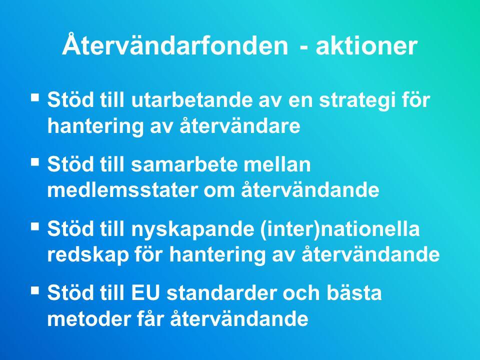 Återvändarfonden - aktioner  Stöd till utarbetande av en strategi för hantering av återvändare  Stöd till samarbete mellan medlemsstater om återvändande  Stöd till nyskapande (inter)nationella redskap för hantering av återvändande  Stöd till EU standarder och bästa metoder får återvändande