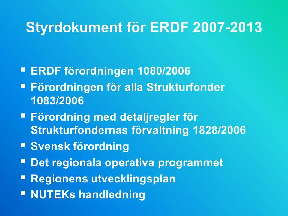 Styrdokument för ERDF 2007-2013  ERDF förordningen 1080/2006  Förordningen för alla Strukturfonder 1083/2006  Förordning med detaljregler för Strukturfondernas förvaltning 1828/2006  Svensk förordning  Det regionala operativa programmet  Regionens utvecklingsplan  NUTEKs handledning