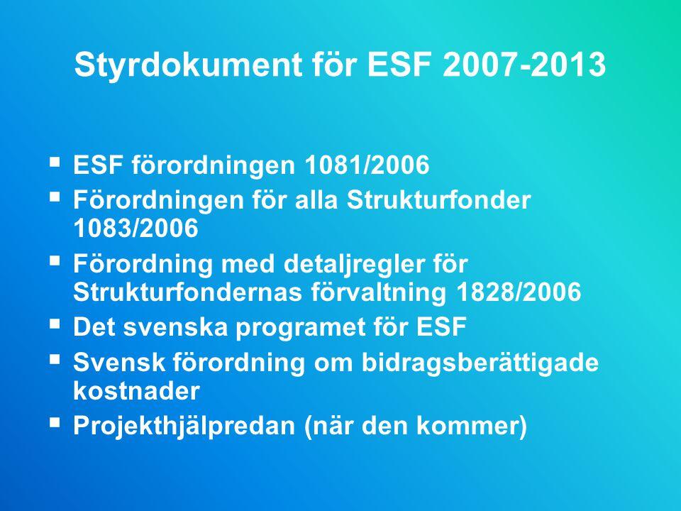 Styrdokument för ESF 2007-2013  ESF förordningen 1081/2006  Förordningen för alla Strukturfonder 1083/2006  Förordning med detaljregler för Strukturfondernas förvaltning 1828/2006  Det svenska programet för ESF  Svensk förordning om bidragsberättigade kostnader  Projekthjälpredan (när den kommer)