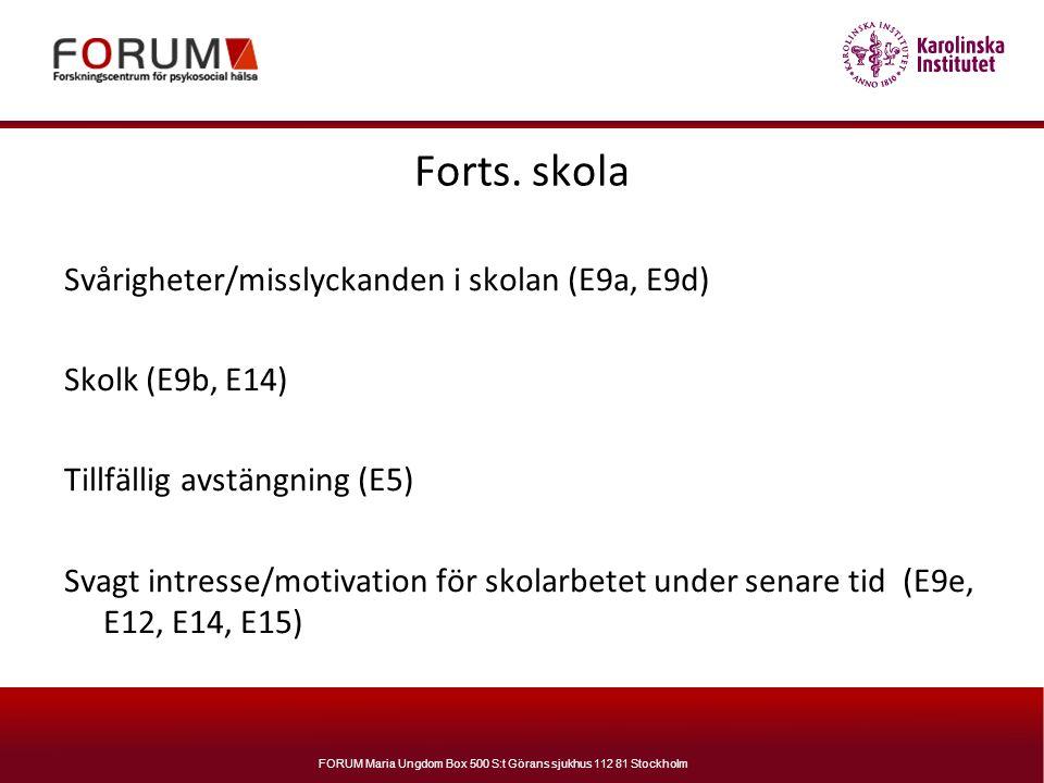 FORUM Maria Ungdom Box 500 S:t Görans sjukhus 112 81 Stockholm Forts. skola Svårigheter/misslyckanden i skolan (E9a, E9d) Skolk (E9b, E14) Tillfällig