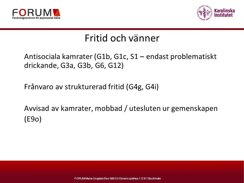 FORUM Maria Ungdom Box 500 S:t Görans sjukhus 112 81 Stockholm Fritid och vänner Antisociala kamrater (G1b, G1c, S1 – endast problematiskt drickande,