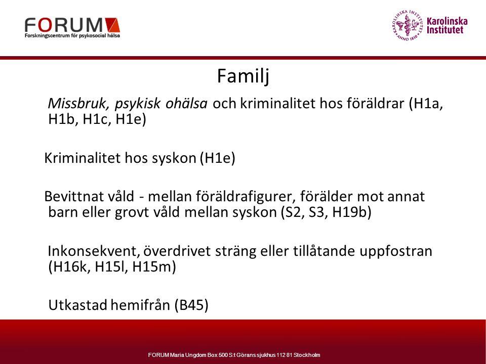 FORUM Maria Ungdom Box 500 S:t Görans sjukhus 112 81 Stockholm Familj Missbruk, psykisk ohälsa och kriminalitet hos föräldrar (H1a, H1b, H1c, H1e) Kri