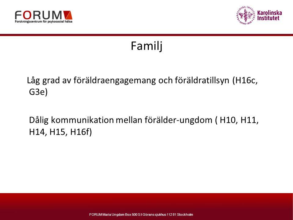 FORUM Maria Ungdom Box 500 S:t Görans sjukhus 112 81 Stockholm Familj Låg grad av föräldraengagemang och föräldratillsyn (H16c, G3e) Dålig kommunikati