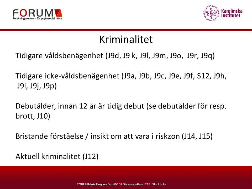 FORUM Maria Ungdom Box 500 S:t Görans sjukhus 112 81 Stockholm Kriminalitet Tidigare våldsbenägenhet (J9d, J9 k, J9l, J9m, J9o, J9r, J9q) Tidigare ick