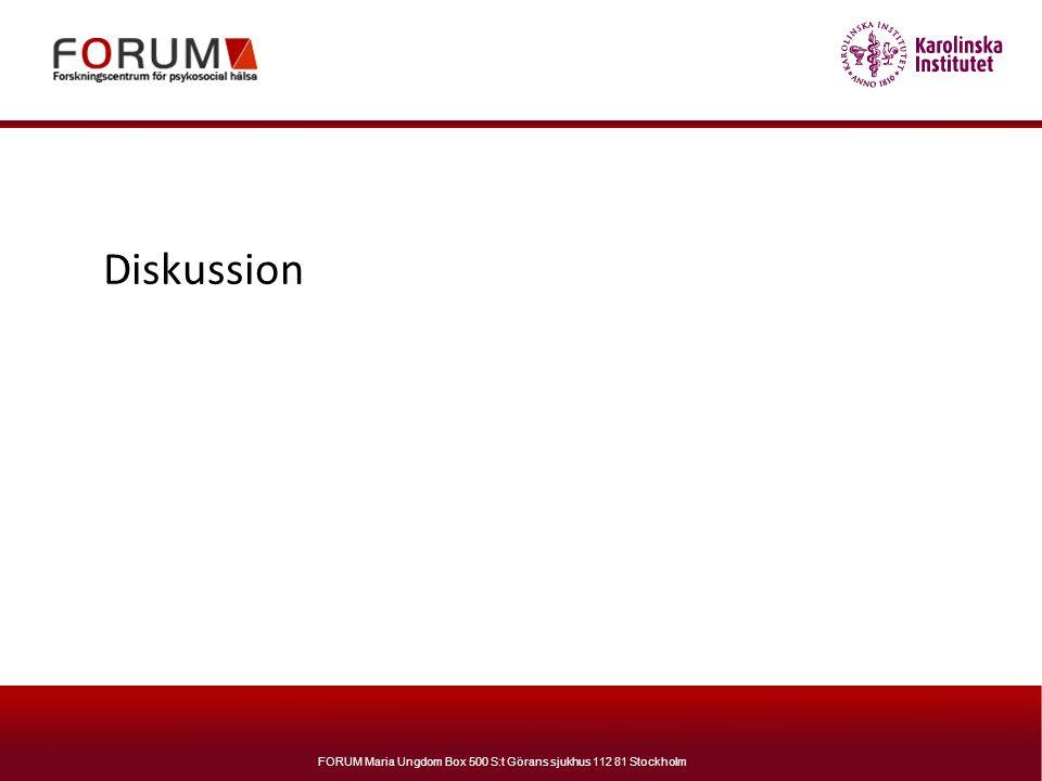 FORUM Maria Ungdom Box 500 S:t Görans sjukhus 112 81 Stockholm Diskussion