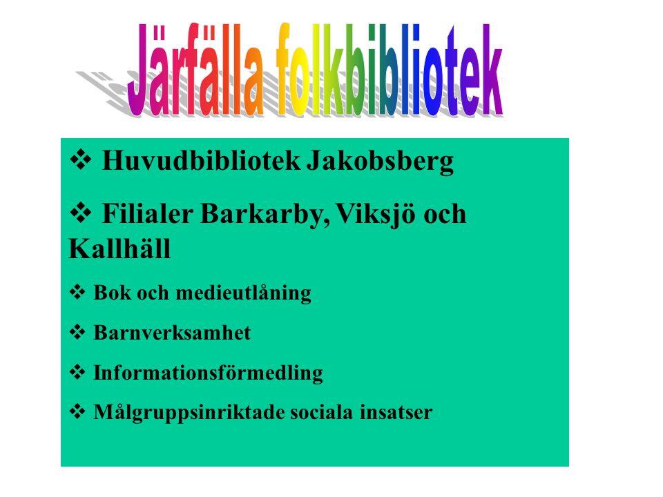  Huvudbibliotek Jakobsberg  Filialer Barkarby, Viksjö och Kallhäll  Bok och medieutlåning  Barnverksamhet  Informationsförmedling  Målgruppsinri