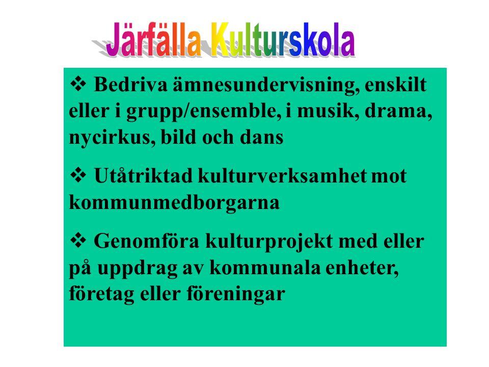  Bedriva ämnesundervisning, enskilt eller i grupp/ensemble, i musik, drama, nycirkus, bild och dans  Utåtriktad kulturverksamhet mot kommunmedborgar